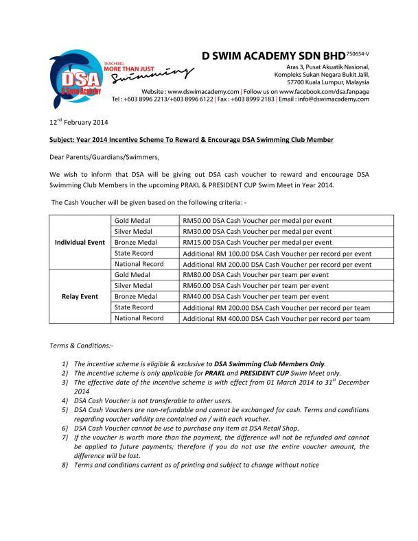 Year 2014 DSA Incentive Scheme