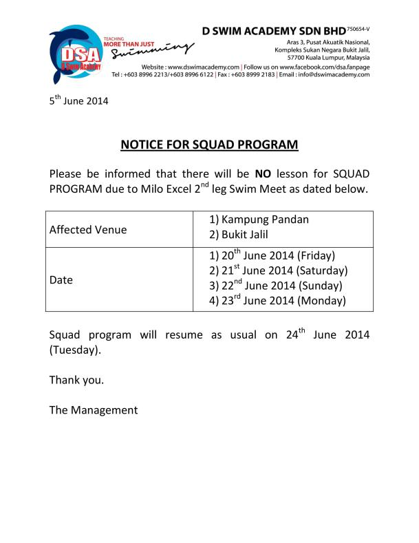Notice for Squad Program