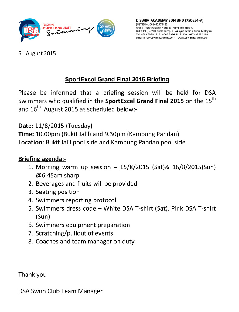 Sport Excel Grand Final 2015 briefing notice